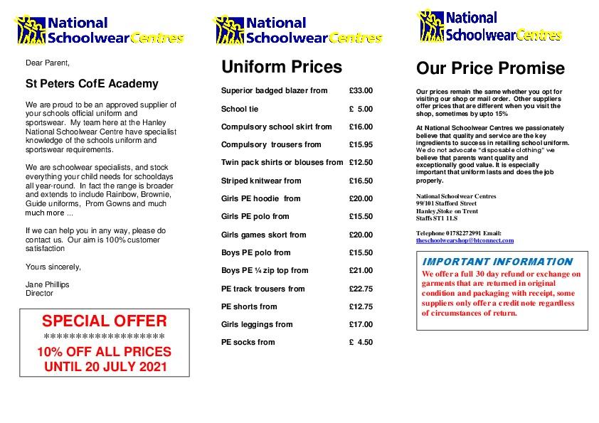 National schoolwear centre flyer