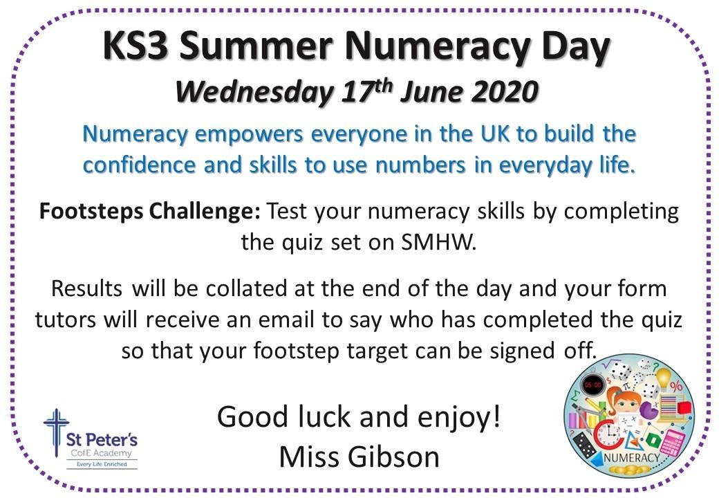 Numeracy day ks3 june 2020