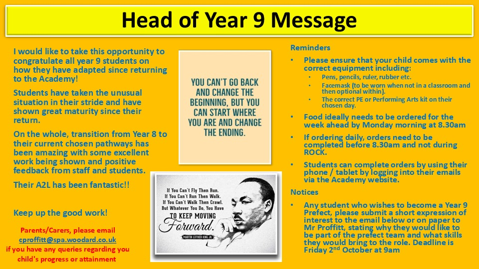 Year 9 message 28 09 20