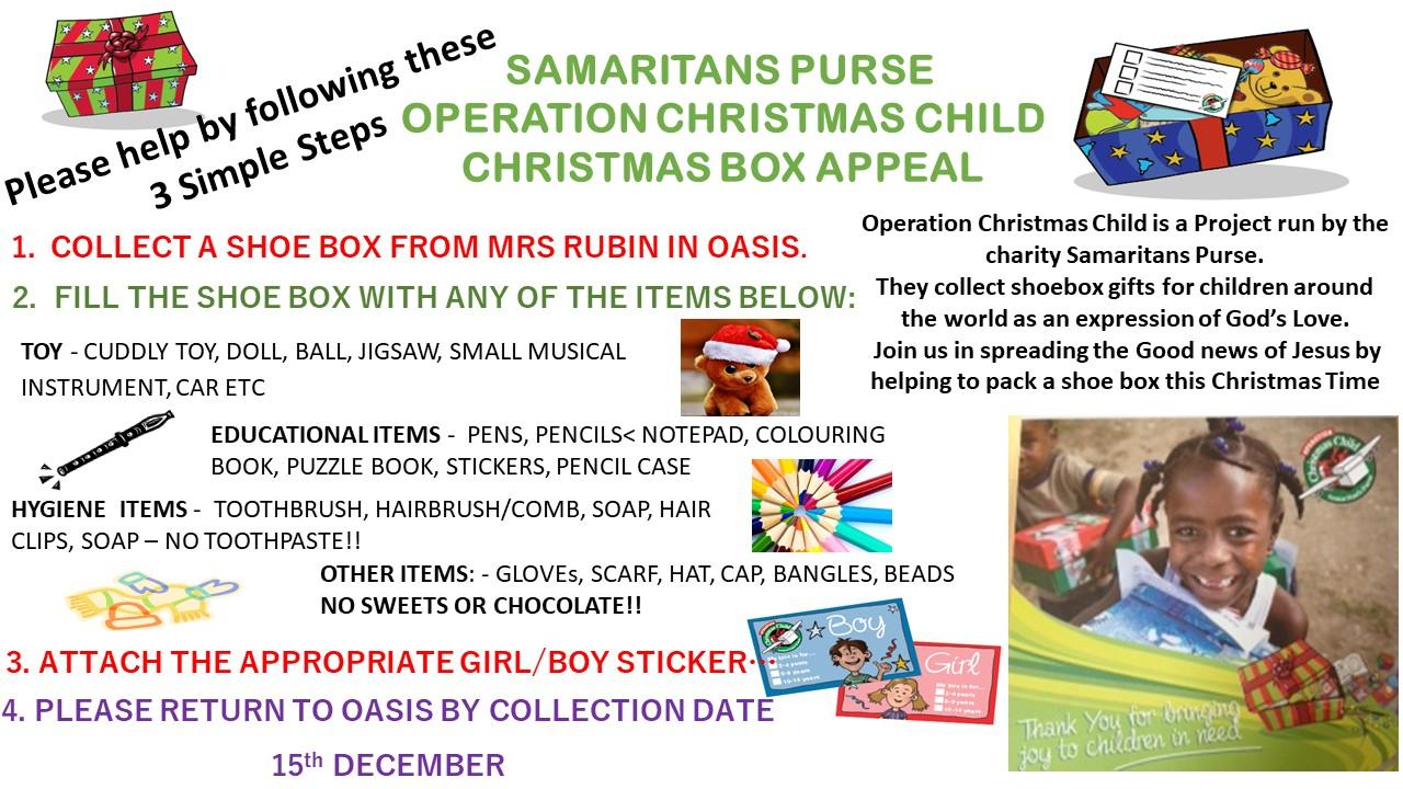 Operation christmas child shoe box 2020